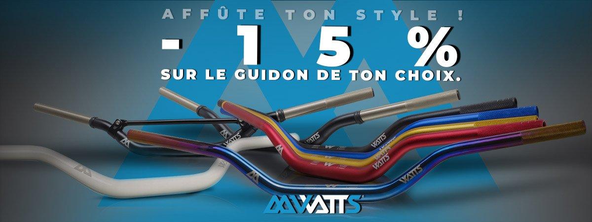 Visuel de présentation de la promotion sur les guidons cross de la marque Watts pour motos 50cc