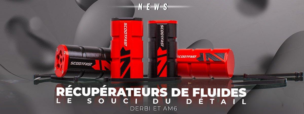 Visuel de présentation des nouveaux récupérateurs de fluide 3D pour motos Derbi senda et AM6