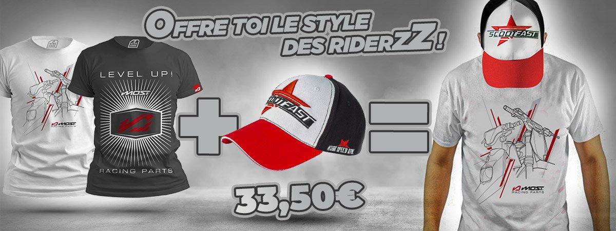 Visuel de présentation du pack T-shirt MOST Racing + casquette ScootFast à -15%