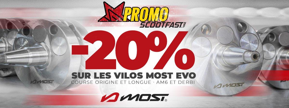 Visuel de présentation de la promotion sur les vilebrequins de motos Derbi et AM6 de la marque MOST Racing