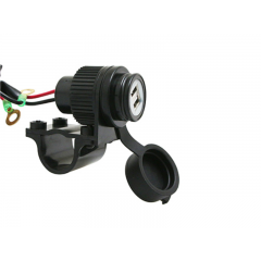 Chargeur double USB 12V 2A fixation au guidon pour Smartphone, GPS et caméra