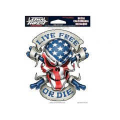 Autocollant Lethal Threat Live Free Or Die Skull 15x20cm