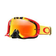 Masque Cross Oakley MX Crowbar Pinned Race jaune et rouge écran irridium