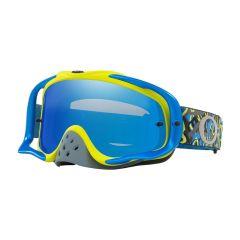 Masque Cross Oakley MX Crowbar Camo Vine bleu et vert écran iridium et transparent