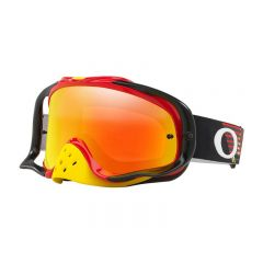 Masque Cross Oakley MX Crowbar Circuit rouge et jaune écran iridium et transparent