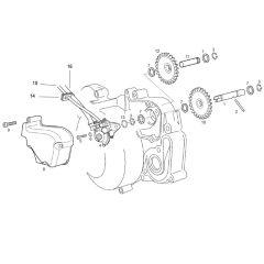 Eclaté moteur - pompe à huile Derbi Euro 3