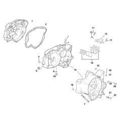 Eclaté moteur - carters moteur Minarelli AM6