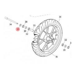 Entretoise droite de roue avant Rieju MRT pro jante à bâton