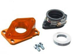 Pipe d'admission aluminium MOST 21 à 28 mm PWK orange AM6 et Derbi